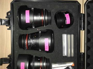 Udlejer: Samyang Cine Kit (14mm, 24,mm, 35mm og diverse filtre)
