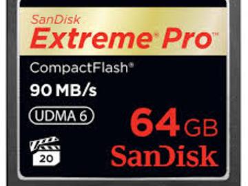 Udlejer: SanDisk  CF 90 mb/s 64 GB (til Canon C300 / 7D)