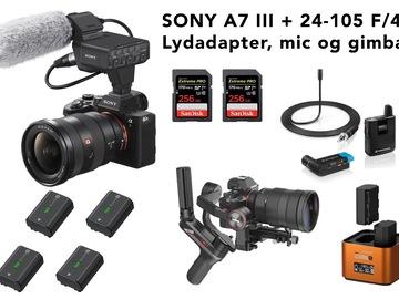Udlejer: Sony A7 III + videopakke m. objektiv, lyd og gimbal