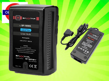 Udlejer: V-mount (V-Lock) Battery + Charger 13200mA 195Wh USB Output
