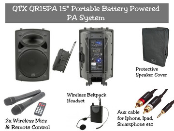 "Lender: QTX QR15PA | Portable Battery Powered 15"" PA Speaker System"
