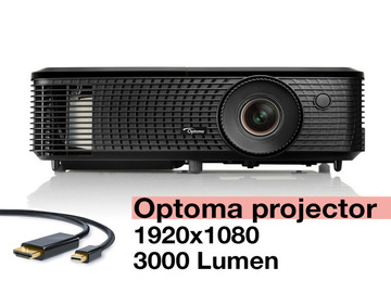 Lender: HD Projector Optoma HD142X 1080p, 3000 Lumens, HDMI USB C