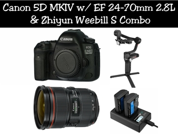 Lender: Canon EOS 5D MKIV w/ Canon EF 24-70 & Weebill S Gimbal
