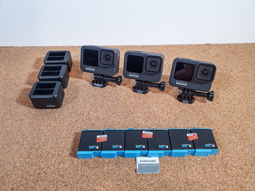 Lender: 3x GoPro 9 + 6x batteries + 3x 128GB SD Card