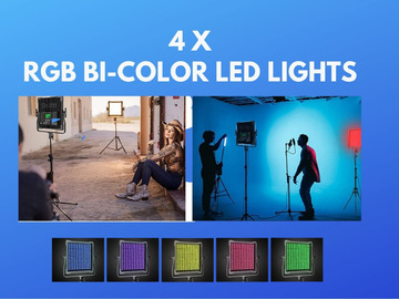 Lender: 4x LED LIGHTS Red, Green, Blue, RGB White Dimmable - Battery