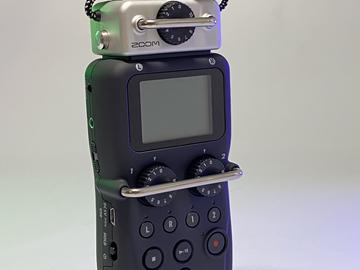 Lender: Zoom H5 + boom mic + 1 sæt microports