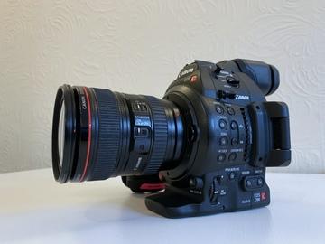 Canon EOS C100 Mark II + Canon EF 24-105 IS F4 lens + 2x 128 GB SD + tripod