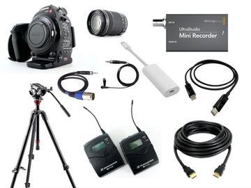 Lender: Live stream C100 bundle (BMD Mini Recorder + Sennheiser G3 mic + Canon C100 camcorder)