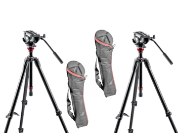 Lender: 2x Manfrotto 190 tripod with MVH500AH video heads + bag