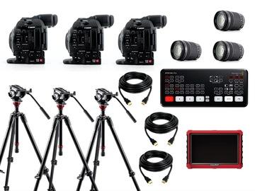 3x camera live streaming bundle (ATEM Mini Pro + Canon C100 mark II + EF-S 18-135 lens)